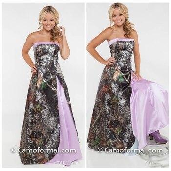 Strapless Camo Long Bridesmaid Dresses Light Purple 2019 Vestidos De Bridesmaids Dress Camouflage Honor Of Maid Cheap Prom Gowns