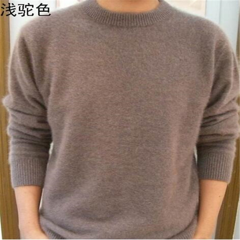 Standard Solid Pullovers Full Sleeves O-Neck 100% Mink Cashmere Auturm & Winter Men Formal Knitted Sweater