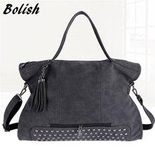 Bolish Pu リベットヴィンテージ レザー女性のハンドバッグのファッションタッセルメッセンジャーバッグの女性のショルダーバッグバッグ大トップバッグ旅行バッグ