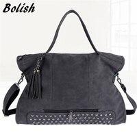 Magic Birds Rivet Black Women Women Leather Handbag Fashion Tassel Women Messenger Bag Larger Crossbody Bag