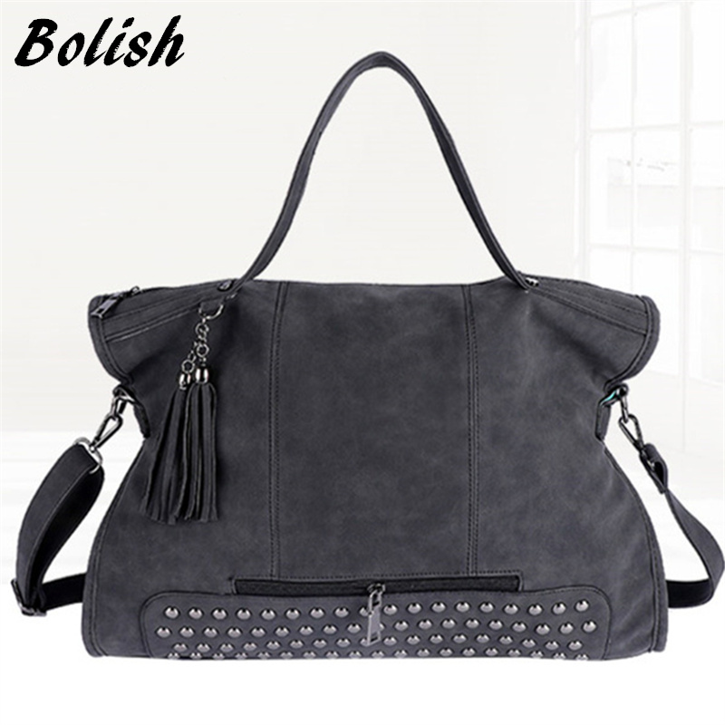 Bolish Rivet Vintage PU Leather Female Handbag Fashion Tassel Messenger Bag Women Shoulder Bag Larger Top-Handle Bags Travel Bag leftside fashionable 2017 women tassel designer rivet boston bag female handbag woman hand bags shoulder bag with wide strap