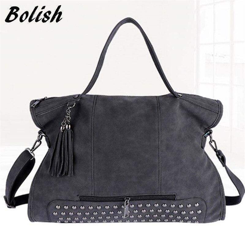Bolish bolso de moda en cuero nobuck con remaches para mujeres, bolso mensajero con borla, bolso con asa superior más larga estilo vintage, bolso para mamá