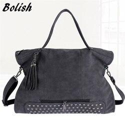 Bolish rebite couro do plutônio do vintage bolsa feminina moda borla mensageiro saco de ombro feminino maior superior-alça sacos de viagem