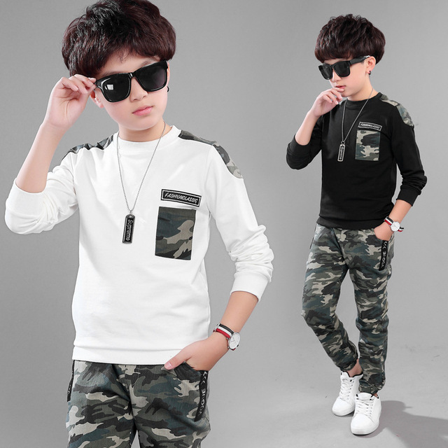 ea031302f140 2Pcs Boys Long Sleeve Fashionable Camouflage Tops Pants Clothing Set Kids  Camo Outfit