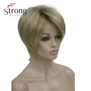 Image 2 - StrongBeauty peluca sintética de capas cortas, color rubio grueso, esponjoso, opciones de color