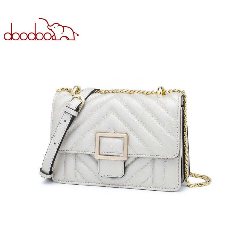 DOODOO Brand Fashion Women Bag Female Shoulder Crossbody Bags Ladies Artificial Leather 2018 Chain Small 2 Colors Messenger Bag стоимость