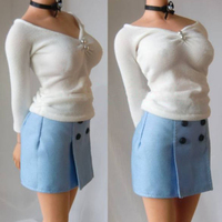 Custom 1:6 Scale White Shirt and Blue Short Skirt Female Professional Suit Cloth F 12 Female Action Figures Accessories