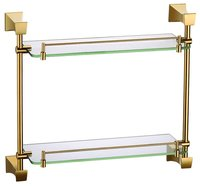 FREE SHIPPING BRASS SQUARE DESIGN double glass shelf