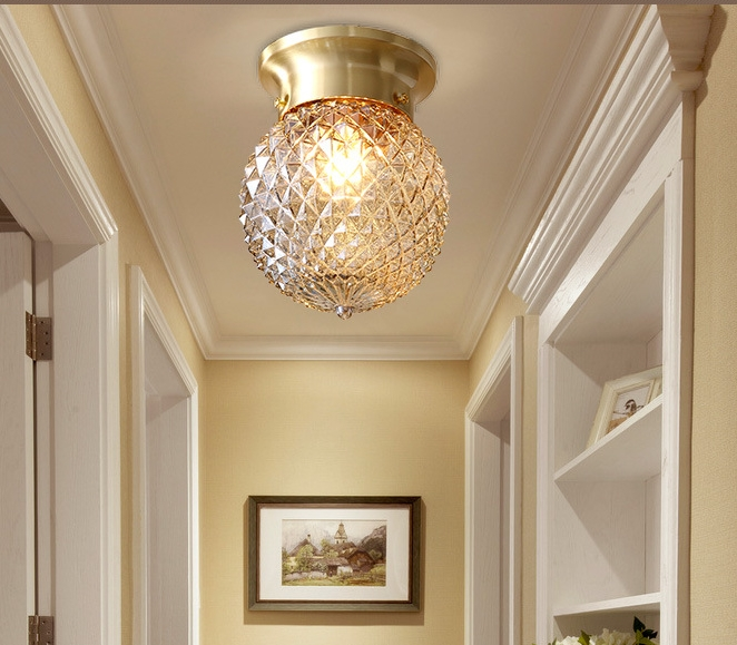 New Chinese Ceiling Lamp Round Living Room Bedroom Dining Room Entrance Study Corridor Copper Glass Half Ceiling Lamp hand painted chinese style jingdezhen ceramic ceiling light for living room dining room aisle the entrance bulb included