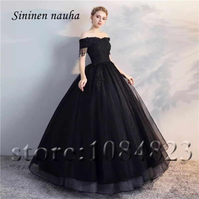 Quinceanera Dresses 2019 Off The Shoulder Ball Gown Black Blue Plus Size  Formal Dress Vestidos De 15 Anos Sweet 16 Dresses 348