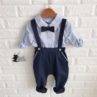 New Fashion Toddler Children Clothes Suits Gentleman Style Baby Boys Clothing Sets Shirt Bib Pants Autumn Kids Infant Costume