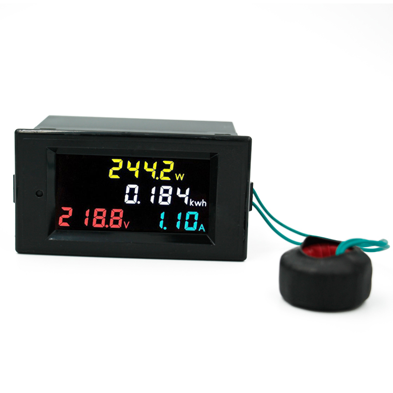 4 em 1 40% de Desconto Voltímetro Amperímetro Tela Colorida Multi-funciton Medidor ac 80-300 v 100a Tensão Atual Energia Elétrica Exibição