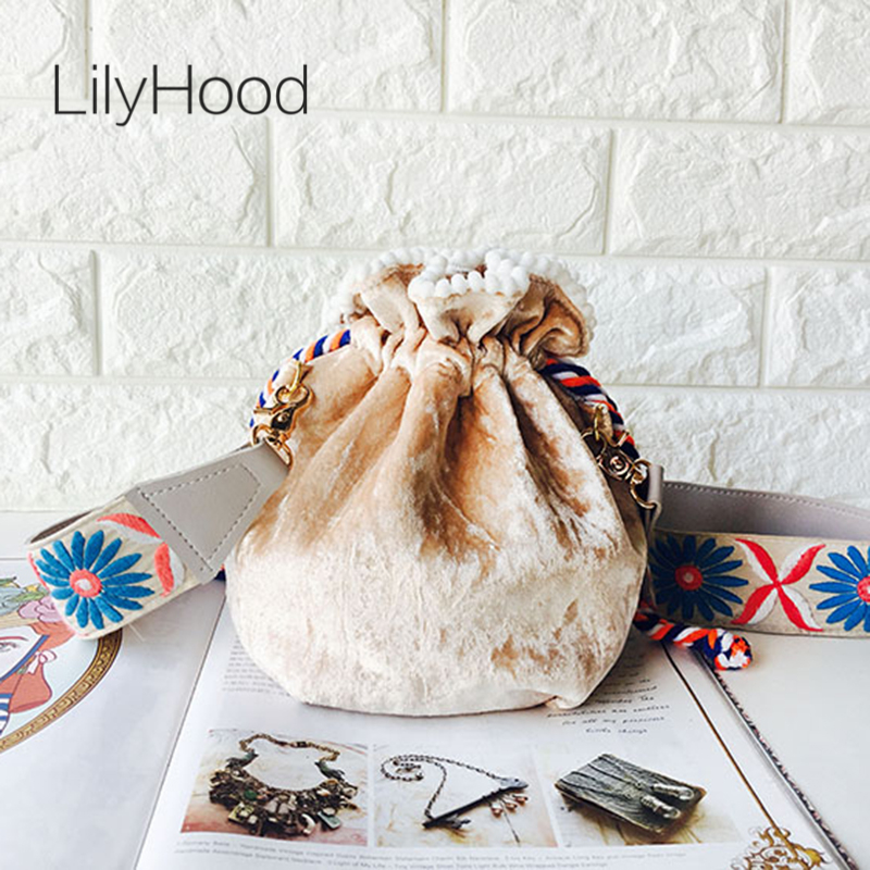LilyHood 2018 Handmade Women Mini Velvet Shoulder Bag Female Gypsy Boho Chic Music Festival Wide Strap Bucket Crossbody Bag цена