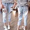 2017 детей Девушки летние джинсовые брюки Дети новый повседневная прохладный ripped отверстия проблемные Джинсы для Девочек 3-8 лет!