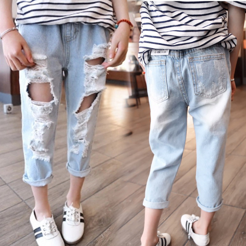be57178bf Retail 2018 hot sale children Boys and girls new autumn distrressed jeans  Kids summer casual ripped ...