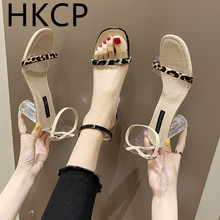 HKCP Leopard print chunky sandals for women 2019 new transparent heels crystal shoes high heels retro Roman women's shoes C153 недорого