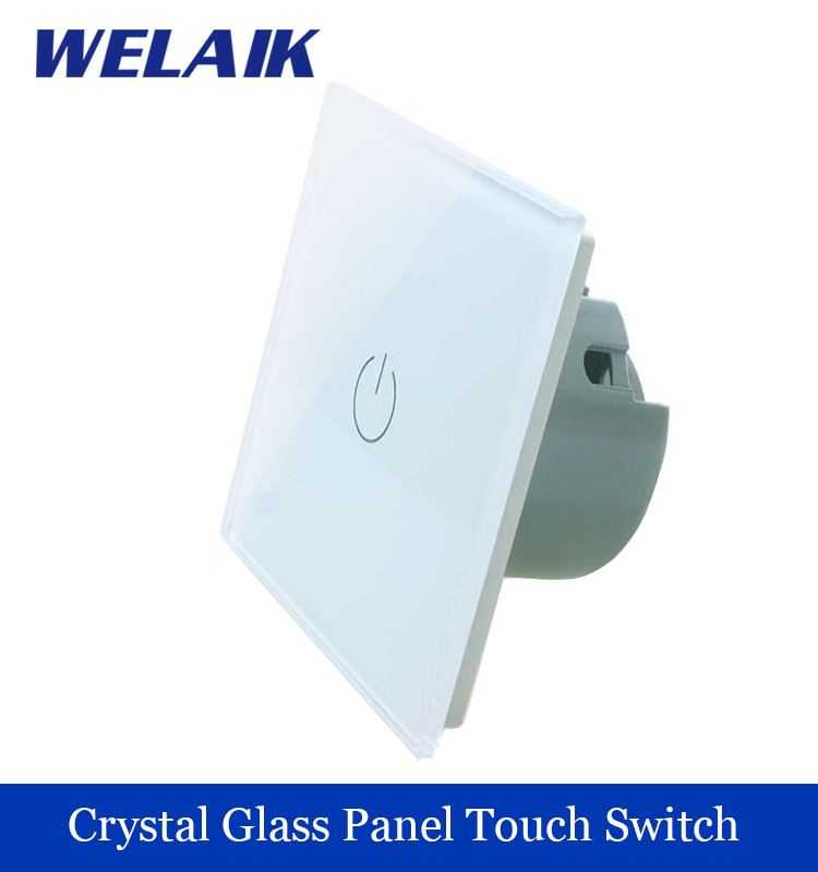 WELAIK Crystal Glass Panel Switch Wall Switch EU Touch Switch Screen Wall Light Switch 1gang1way AC110~250V  LED lamp A1911W/B welaik crystal glass panel switch white wall switch eu remote control touch switch light switch 1gang2way ac110 250v a1914xw b