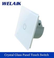 WELAIK Crystal Glass Panel Switch Wall Switch EU Touch Switch Screen Wall Light Switch 1gang1way AC110~250V  LED lamp A1911W/B
