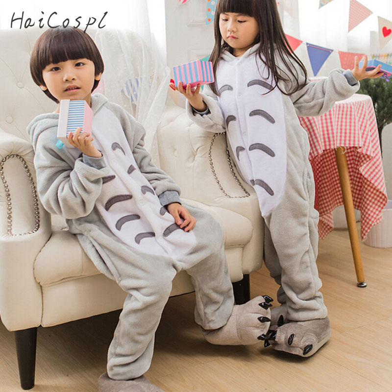 Totoro Pajama Onesie Kids Children Anime Cosplay Costume Boys Girls Lovely Gray Cat Sleepwear Winter Flannel Warm Pajamas Suit