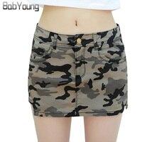 BabYoung 2017 Zomer Womens Rokken Militaire Camouflage Denim Rok Katoen Zakken Sexy Mini Potlood Rokken Vrouwelijke Workout Shorts