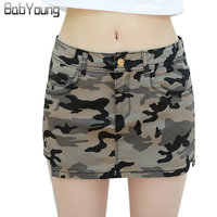 LIKEPINK 2017 Summer Womens Skirts Military Camouflage Denim Skirt Cotton Pockets Sexy Mini Pencil Skirts Female
