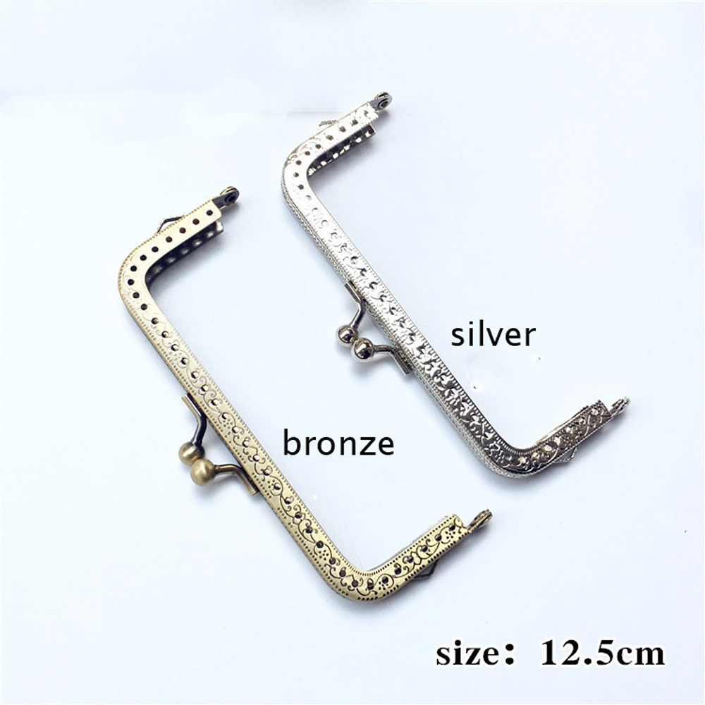 12.5cm Women DIY Coin Bag Making Metal Knurling Clasp Purse Frame Kiss Buckle Silver Bronze Color 10pcs/lot