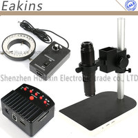 1080P 16MP Industrial Microscope Camera HD HDMI/USB outputs + 200X HD C-Mount Lens + 60 LED Light + Table Stand Holder