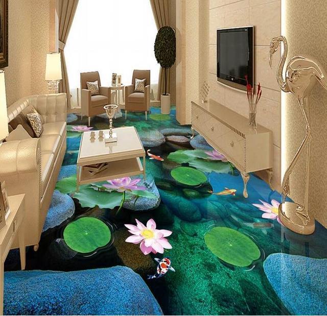 Custom 3d Floor Beautiful Water Self Adhesive Wallpaper Pvc Vinyl Flooring Wall Papers Home Decor