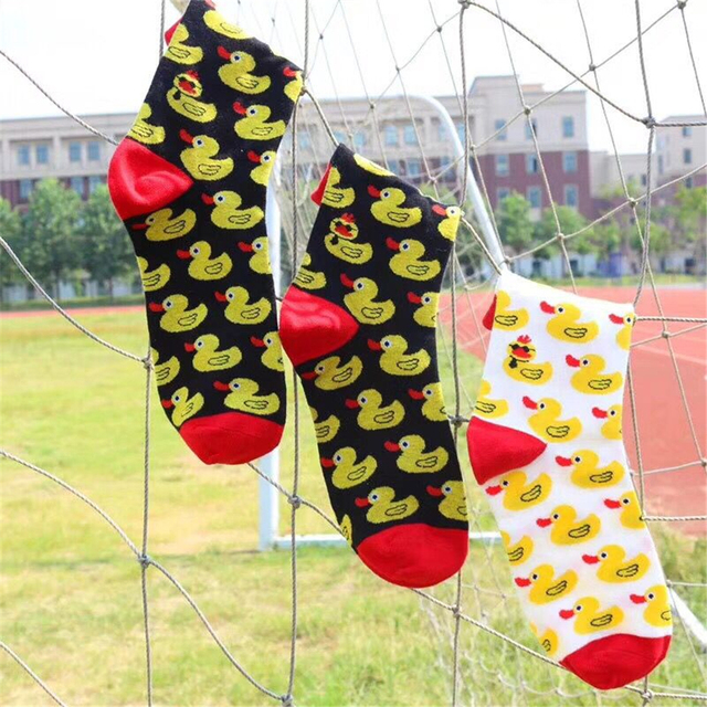 Cartoon Hip Hop Cool yellow duck Cotton Skateboard Sock