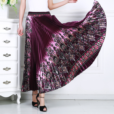 Women's Pleated Skirt Mother's Half-length Skirt Mid-aged And Old People's Elastic Waist Dancing Fashion Skirt In Summer