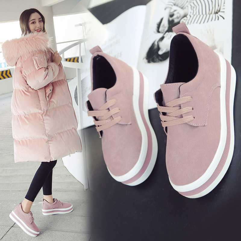 Women Flats Sneakers Shoes Spring Moccasin Fashion Creepers Shoes Lady Loafers Ladies Slip On 5CM Platform Shoes 2019