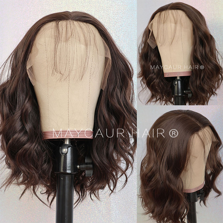 Maycaur #8 Brown Short Bob Hair Synthetic Lace Front Wig Short Wavy Wigs with Natural Baby Hair For Women Glueless (1)