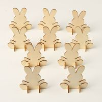 10pcs Lovely 3D Easter Rabbit Pieces Wooden Home Decor Embellishments Cutouts Craft Bunny Hanging Ornament DIY