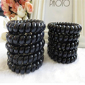 50Pcs Women Black Elastic Hair Bands Telephone Wire Style Hairband Hair Ties & Plastic Rope Headbands Accessory For Hairband