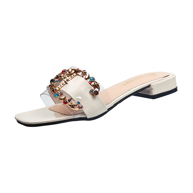 b4ea129df Colorful crystal metal ornament slides ladies summer brand open toe  transparent sandals women cozy slip on shoes zapatos mujer-in Middle Heels  from Shoes on ...