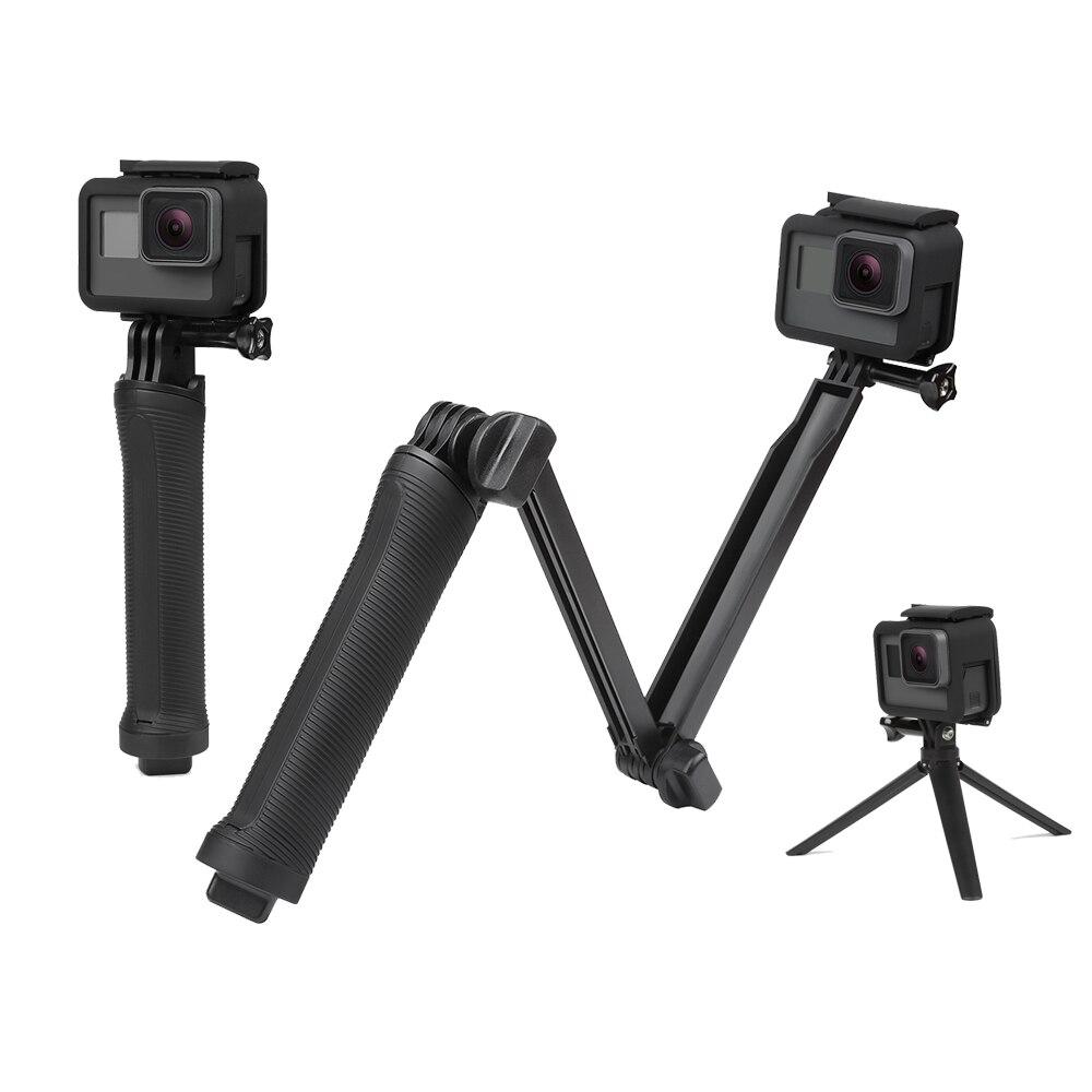 SPARARE 3 Vie Presa Impermeabile Monopiede Selfie Stick Per Gopro Hero 5 6 4 Nero Sessione SJ4000 Xiaomi Yi 4 K Treppiedi di Macchina Fotografica accessorio