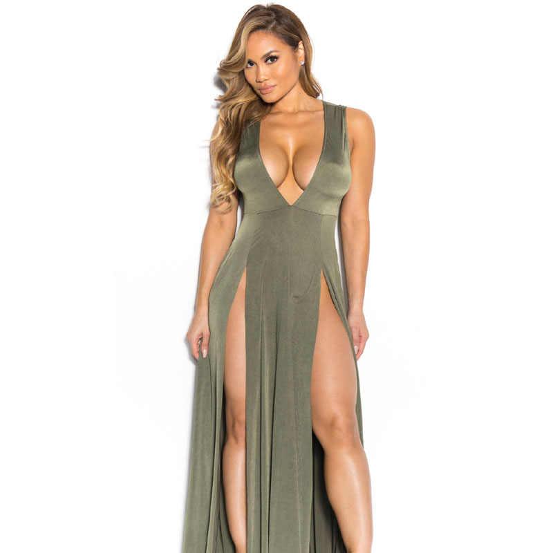 2016 nova boho cor sólida alta dividir verão dress mulher profundo v pescoço partido maxi dress sexy mangas beach dress beachwear s2305