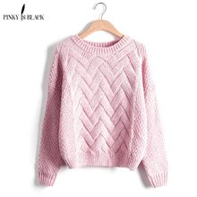 Pinky Is Black Femme 2019 Autumn Winter Women Sweaters And Pullovers Plaid Thick Knitting Mohair Sweater Female Loose Variegated