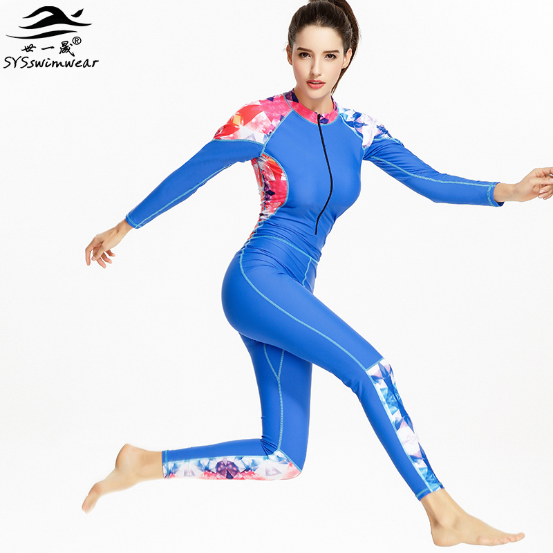 Hot High Quality Zipper Long Sleeves Surfing Women One Pieces Swimwear Solid & Print Patchwork Swimsuit Hot Sport Bathing Suit