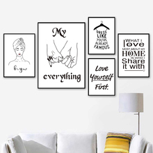 Nordic Minimalist Poster Black and White Quote Prints Wall Painting Pictures Love Quotes Posters And Woman Unframed