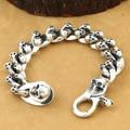 NEW! Thailand 925 Silver Skull Bracelet Vintage Sterling Silver Cross Skull Chain Bracelet Real Silver Skeleton Man Bracelet