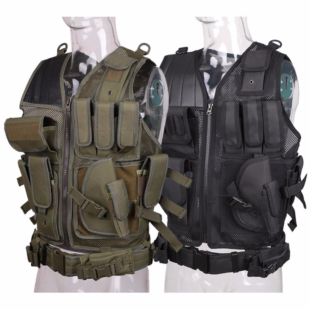 VESSOS Army Tactical Vest Military Protective Airsoft Camouflage Molle Vest Outdoor Hunting Training Vests CS Jungle Equipment