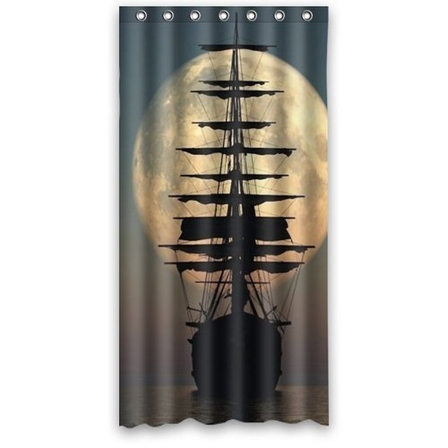 36wX72h Inch Waterproof Bath Nautical Vintage Sailing Pirate Ship Theme Shower  Curtain