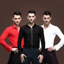Yeni erkek siyah dans gömlek rekabet performans balo salonu Modern Salsa Tango Samba latin erkek gömlek erkek giyim