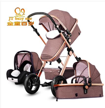 ФОТО Higher Land-scape Baby Stroller Portable Folding Pram for Newborn to Preschool Luxury Carriage