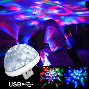 Image 1 - سيارة مصابيح داخلية مصباح للزينة Led صغيرة RGB الملونة مصباح لتهيئة الجو السيارات USB DJ ديسكو المرحلة تأثير أضواء السيارة التصميم