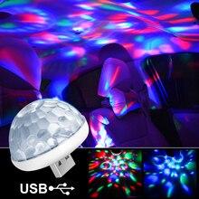 Luzes interiores do carro lâmpada decorativa led mini rgb atmosfera colorida luz auto usb dj discoteca efeito de palco luzes estilo do carro