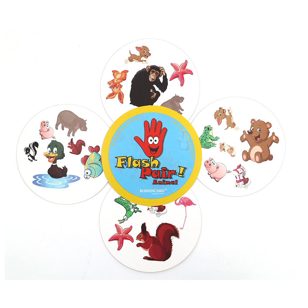 2018 Flash Pair Animals Board Game Spot Sport & Alphabet For Kids Family Fun Double Find It English Version Card Game