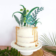 7pcs/set Green Plant Cake Toppers Jungle Party Kids Birthday Decoration Artificial Grass Leaves Cake Decor Baby Shower Supplies(China)