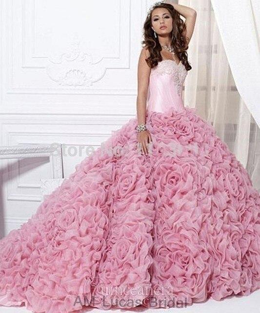 Luxo Rosa 2017 Vestidos Quinceanera vestido de Baile Em Camadas Ruffles Frisada Cristais Doce 16 Anos Da Princesa Vestidos Para 15 Anos